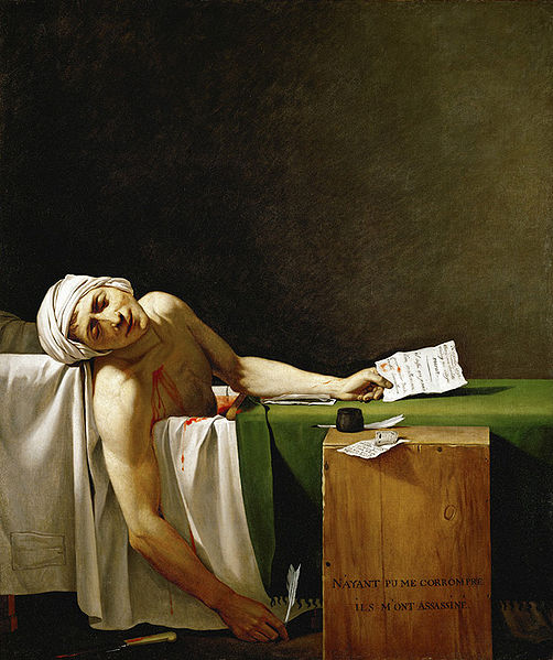 Marat assassiné - Source : by Gioacchino Giuseppe Serangeli (1768-1852) after Jacques-Louis David. [Public domain], via Wikimedia Commons