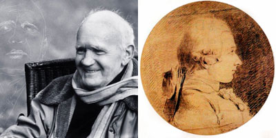Jean Genet (Photo archives AFP / dessin de Jean Genet: Tiffet) - Marquis de Sade (source Wikipédia)